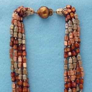 Jewelry - Fabulous MCM Bronze, Gold Lucite Torsade Necklace